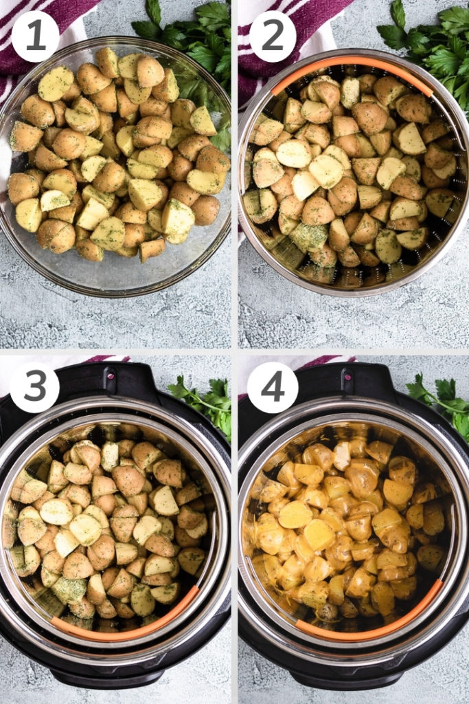 Collage showing how to make Instant Pot Ranch Potatoes.