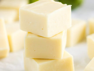 Stack of several pieces of key lime fudge.