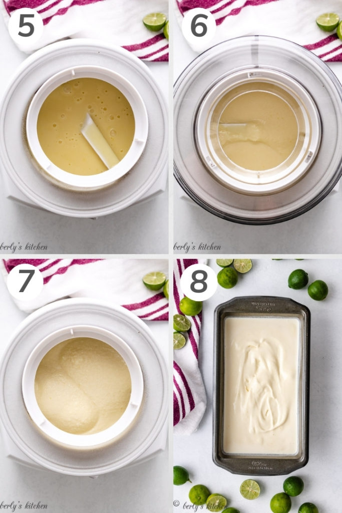 Collage style photo showing how to mix key lime ice cream.