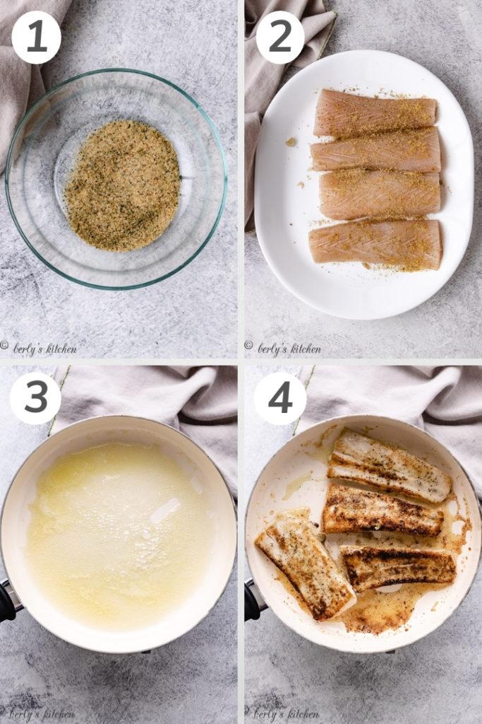 Collage style photo showing how to make mahi mahi fish tacos.