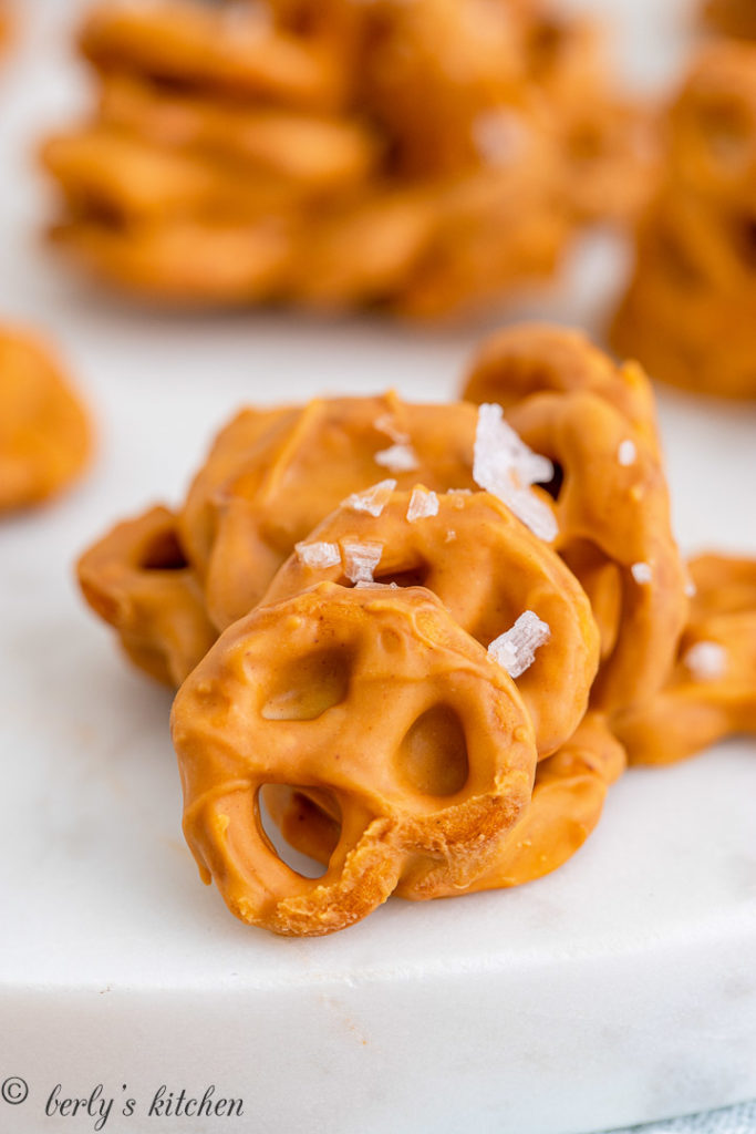 Clump of peanut butter cookies with pretzels and salt.