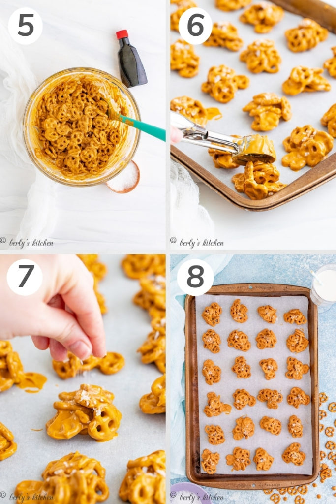 Collage showing how to salt and scoop peanut butter pretzel cookies.