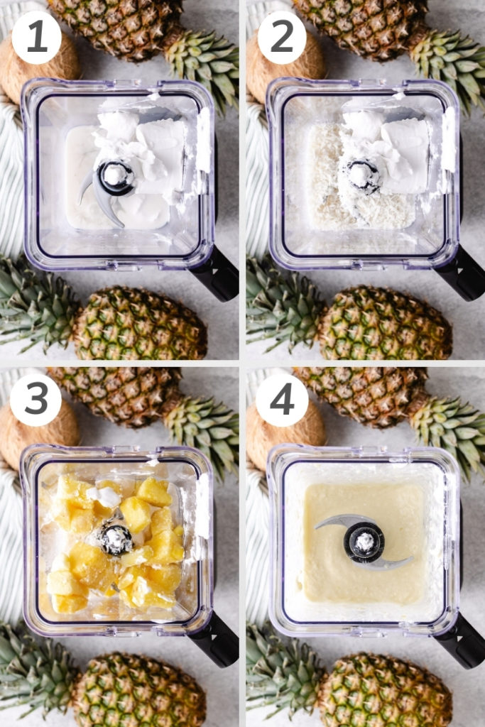 Collage style photo showing how to make a pina colada smoothie.
