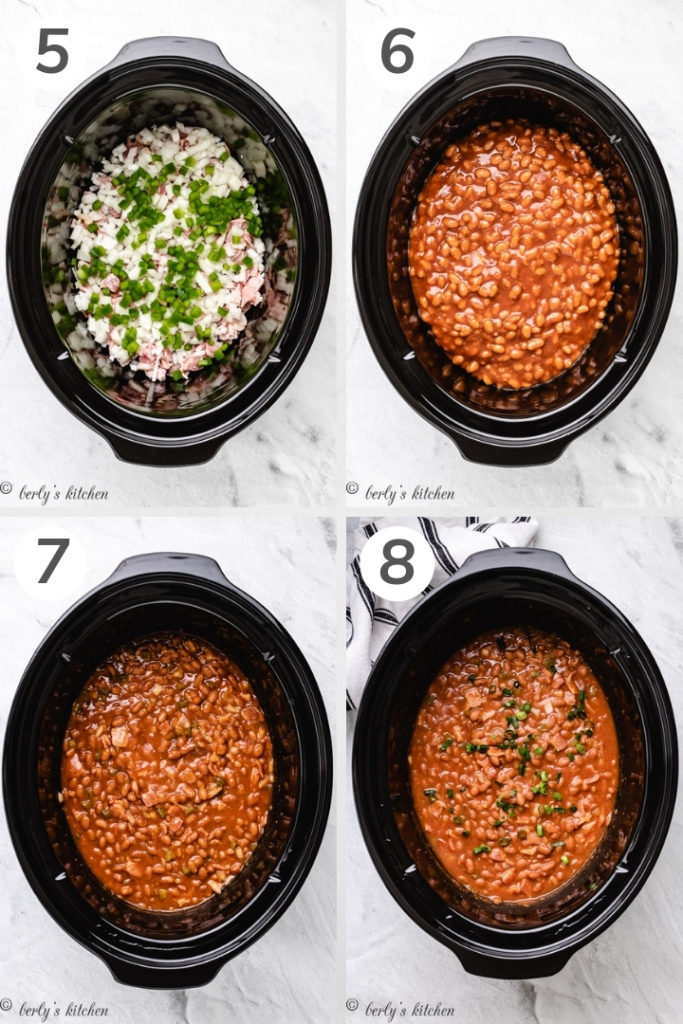 Collage showing how to make slow cooker baked beans.