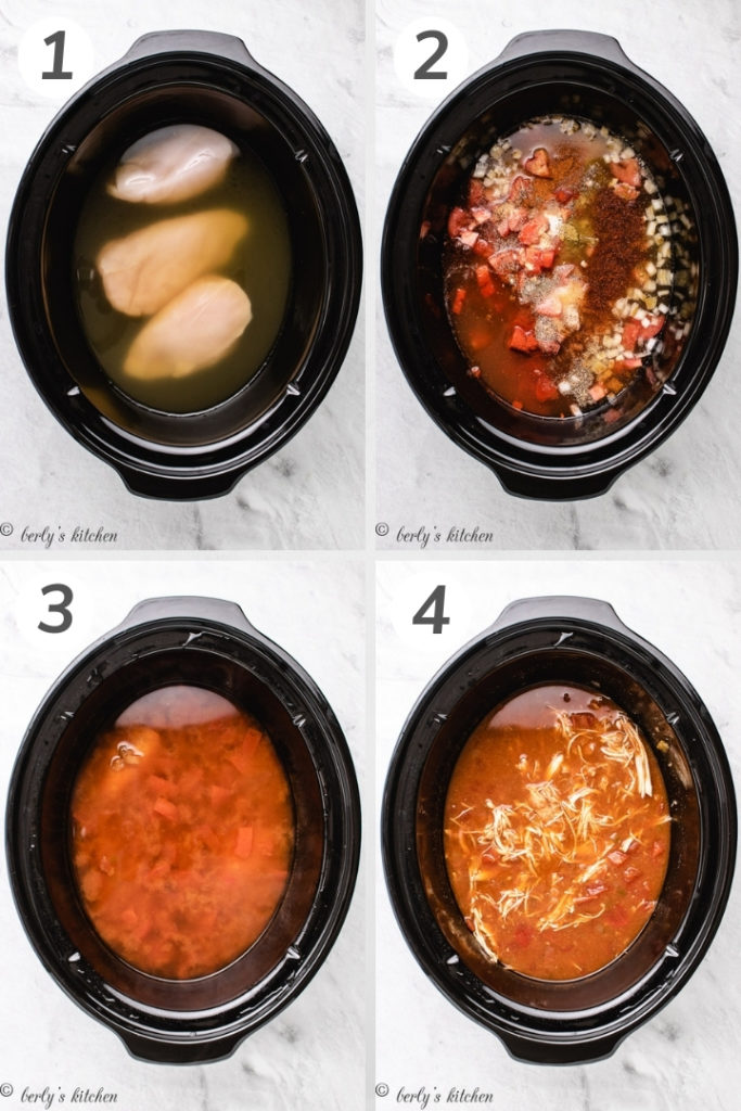 Collage style photo showing how to make shredded chicken tacos.