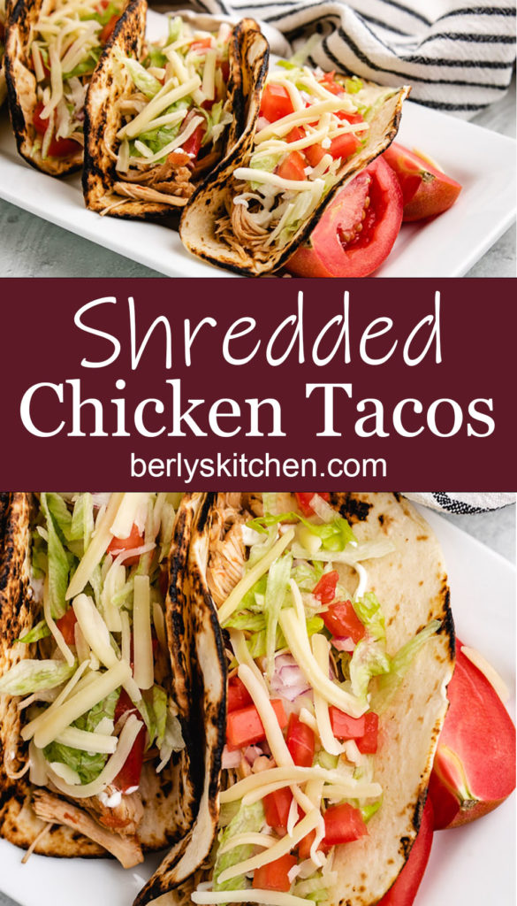 Collage style photo of shredded chicken tacos on a white plate.