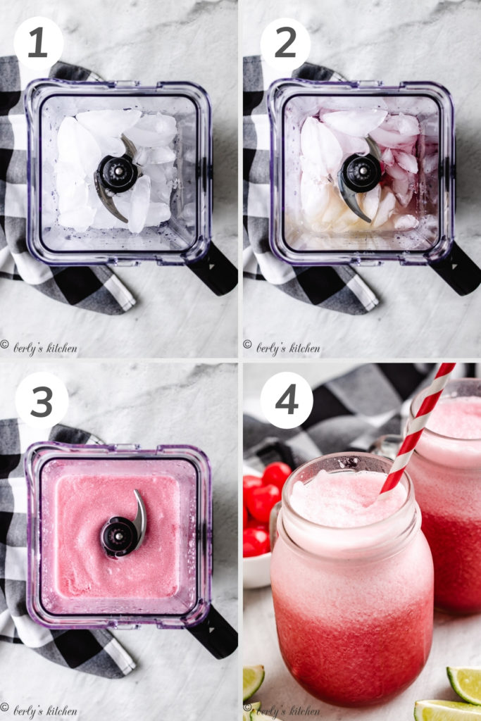 Collage style photo showing how to make cherry limeade slush.