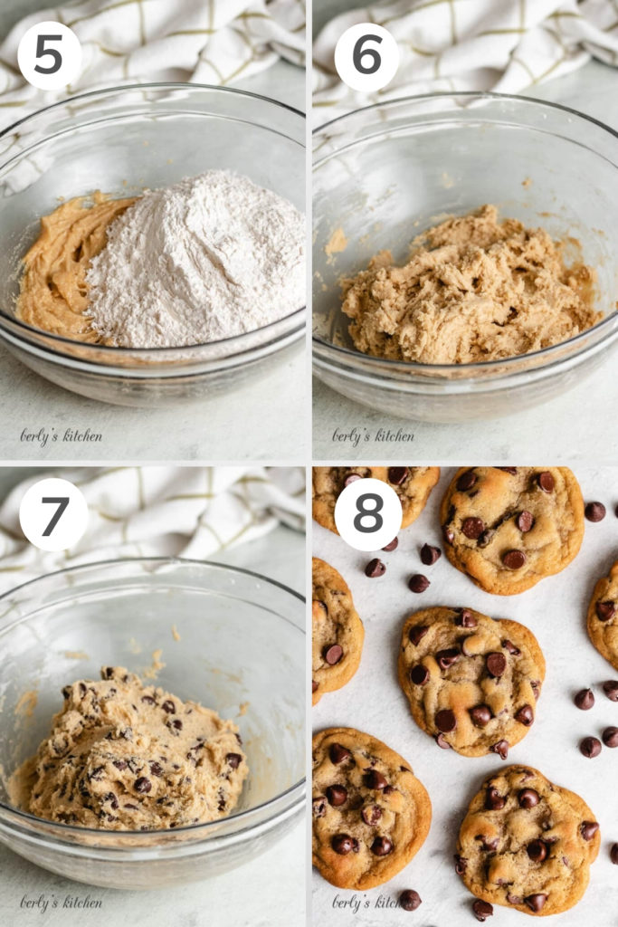 Collage showing cookie dough being mixed in a bowl.