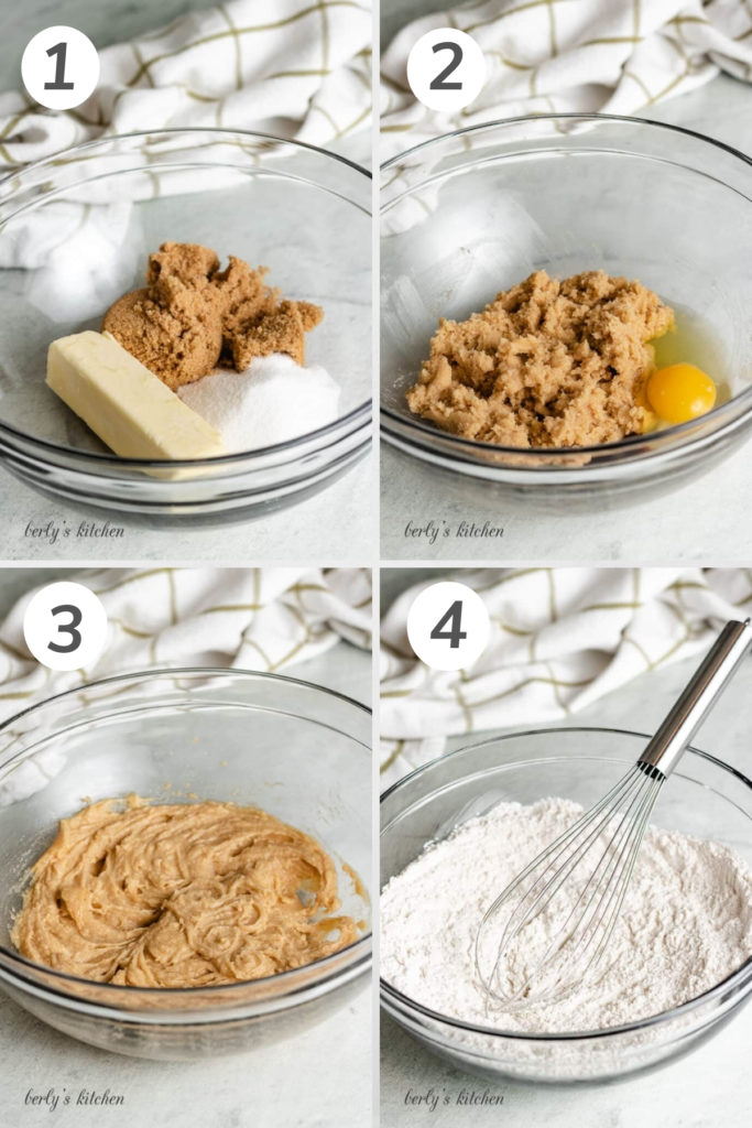 Collage showing how to make chocolate chip cookie dough.