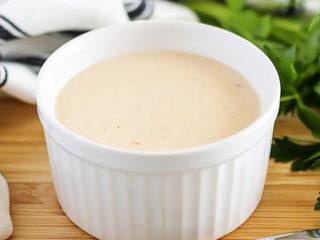 White ramekin filled with cream of chicken soup.