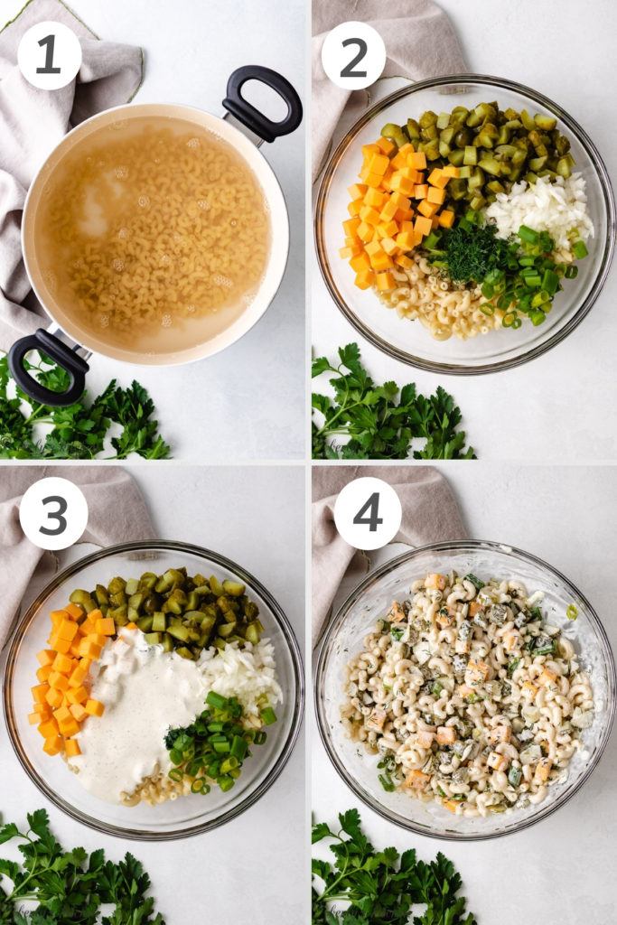 Collage style photo showing how to make dill pickle pasta salad.