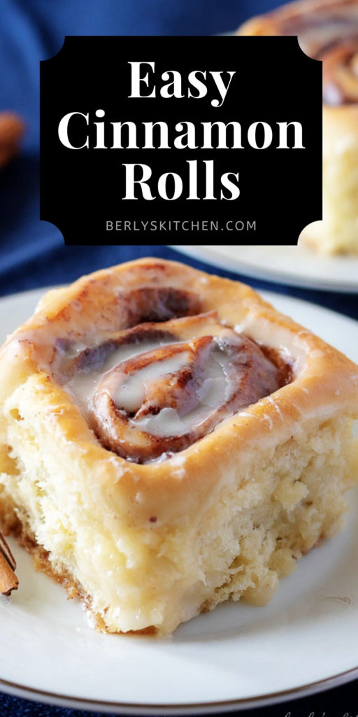 Easy cinnamon roll on a white plate.