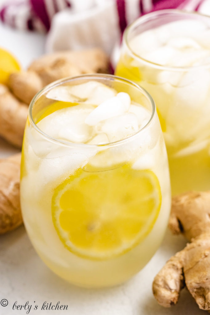 Close up view of lemon slices with ice.