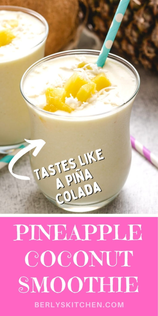 Two glasses of pineapple coconut smoothie with striped straws.