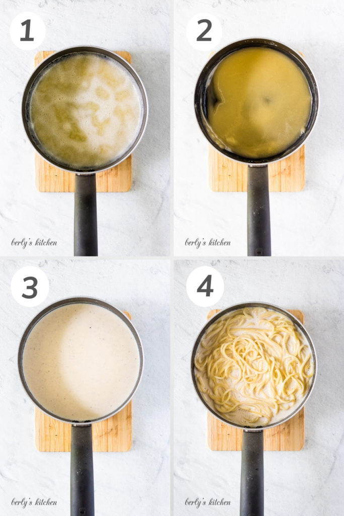 Collage style photo showing how to make simple cream bechamel sauce.
