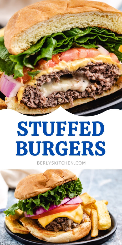 Collage of two photos of stuffed burgers with cheese.