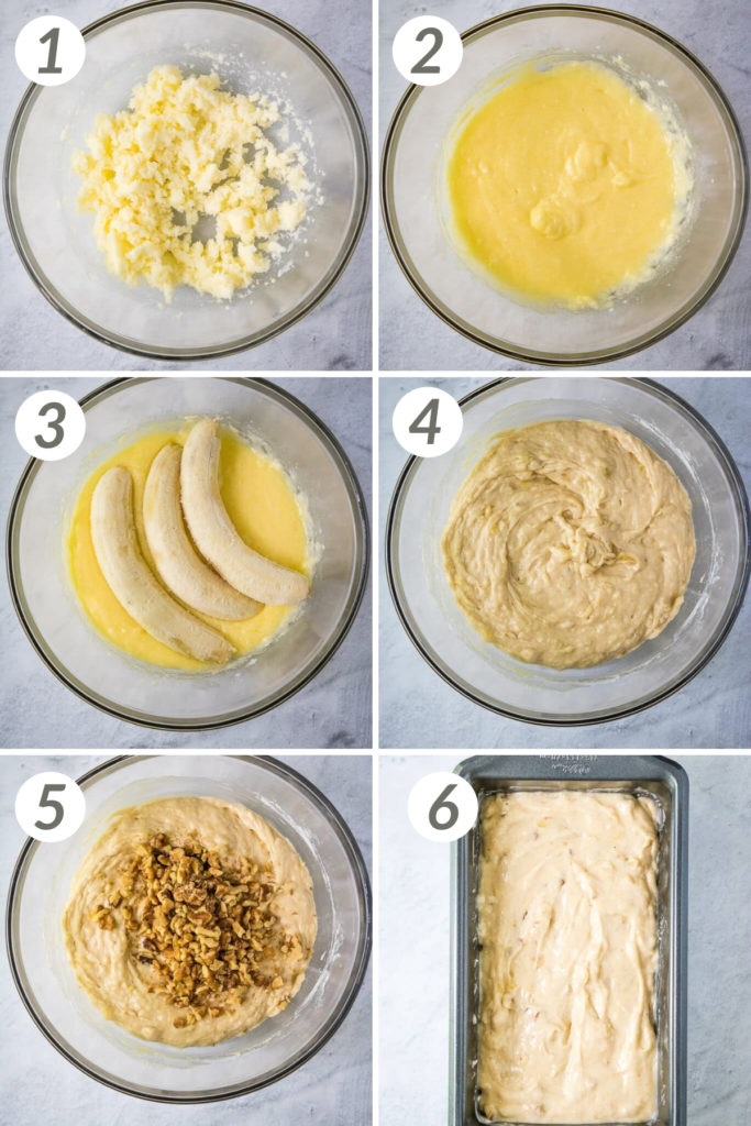 Collage showing how to make banana bread.