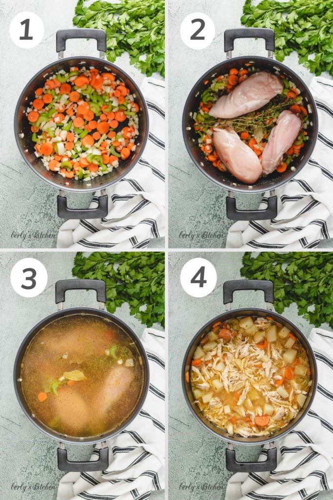 Collage showing how to make chicken potato soup.