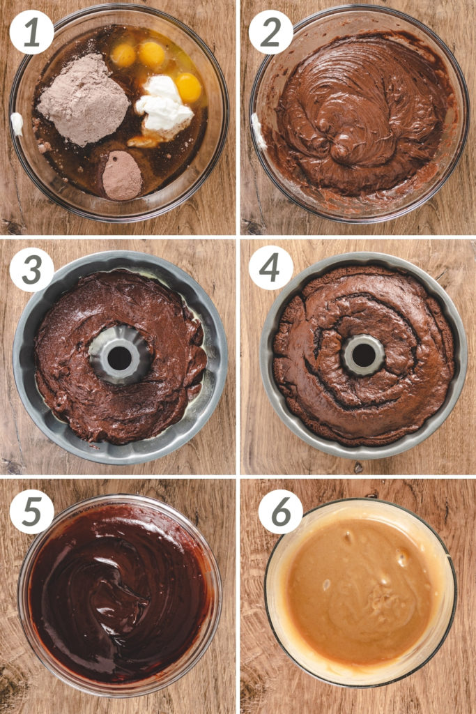 Collage showing how to make chocolate peanut butter bundt cake.
