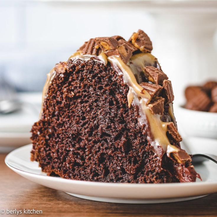 Chocolate peanut butter bundt cake featured image chocolate peanut butter bundt cake