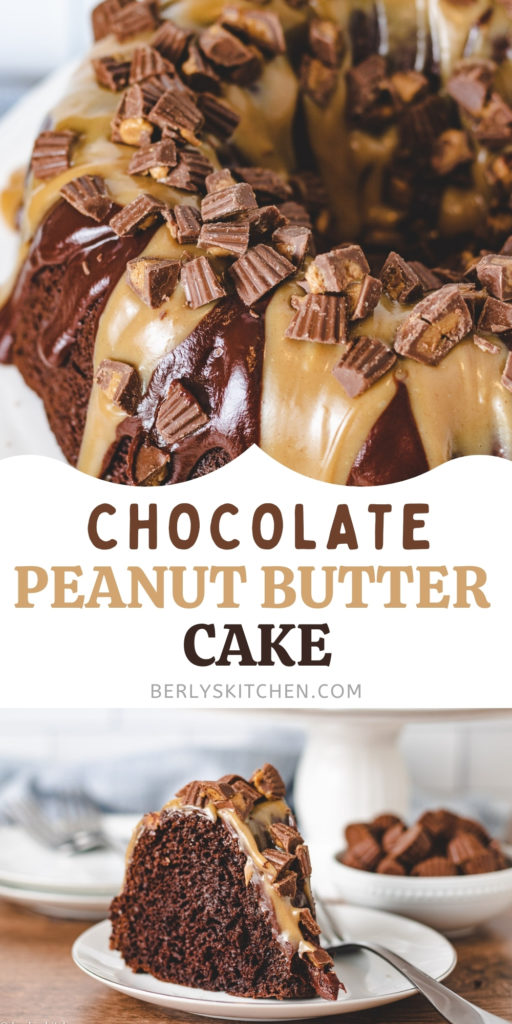 Chocolate cake covered with chocolate ganache and peanut butter sauce.
