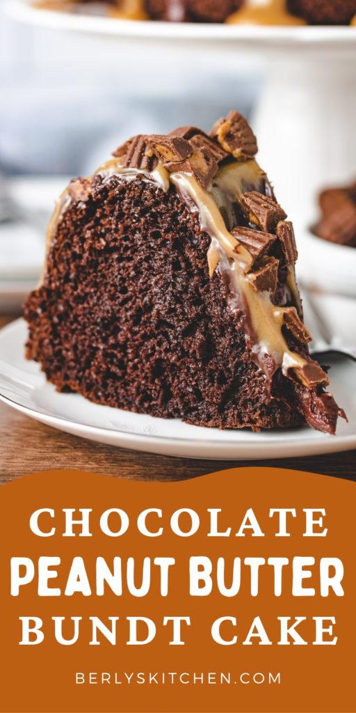 Chocolate peanut butter bundt cake on a plate.