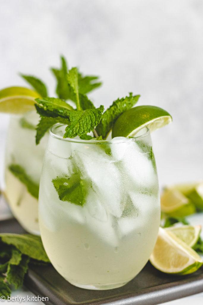 Two glasses of coconut mojito.
