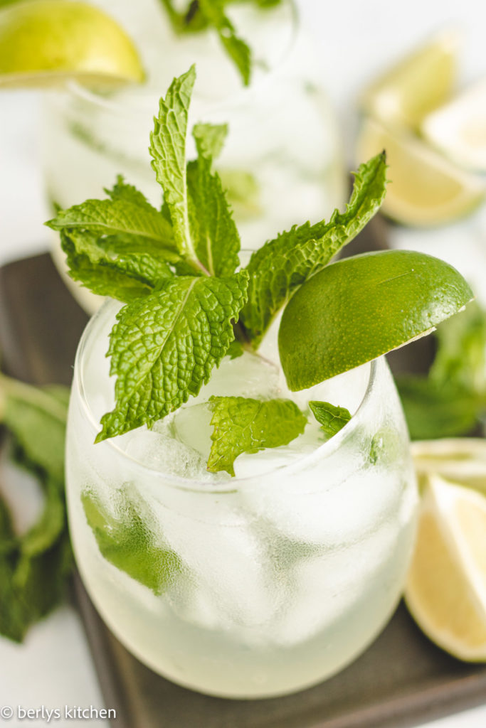 Close up of a coconut mojito with fresh mint.