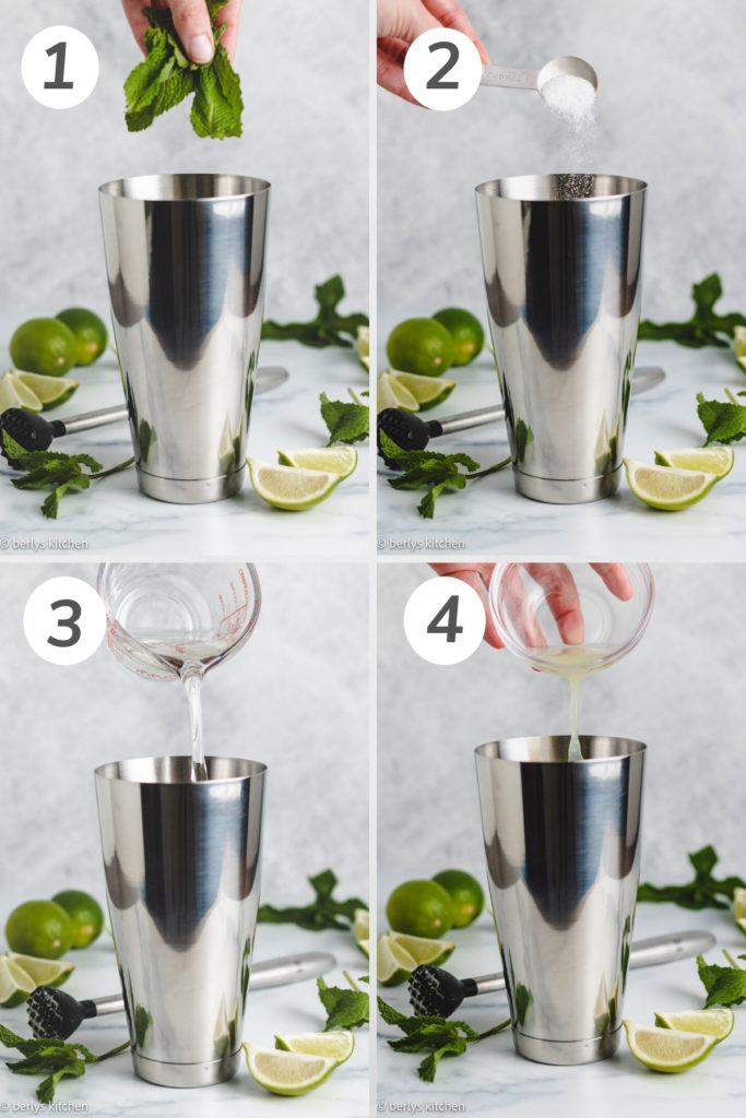 Collage showing how to make a coconut mojito.