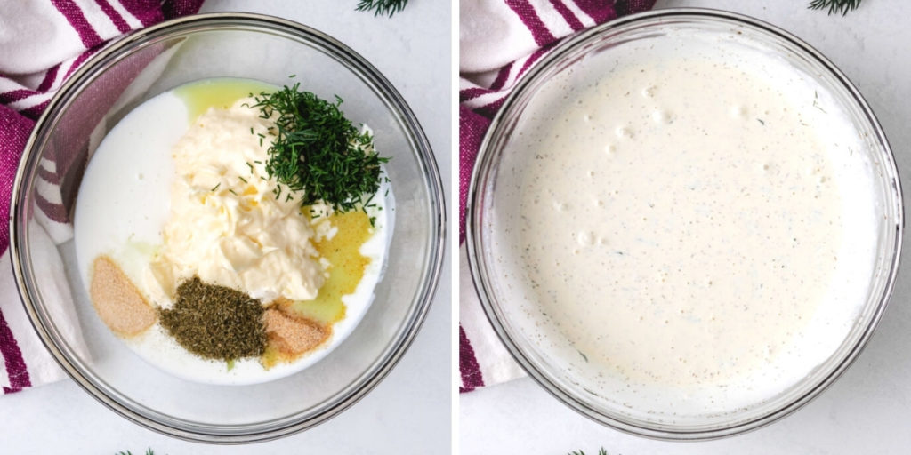Collage showing how to make dill salad dressing.