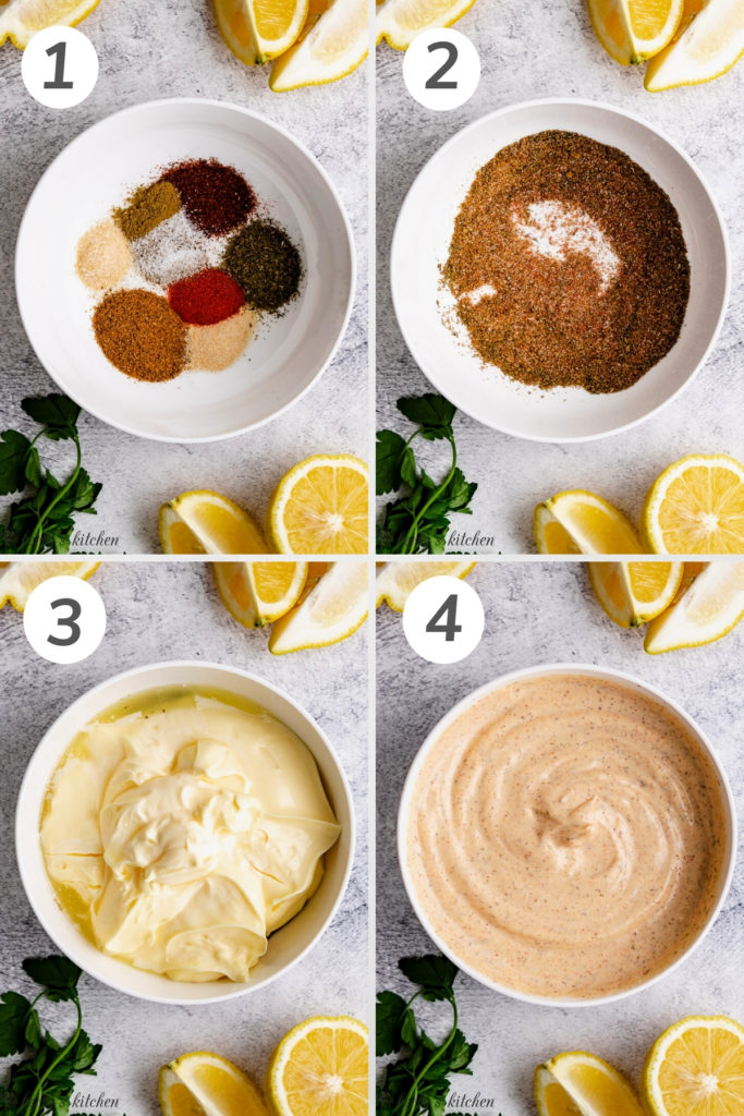 Collage showing how to make fish taco sauce.
