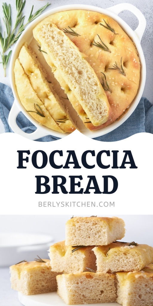 Collage showing two photos offocaccia bread.