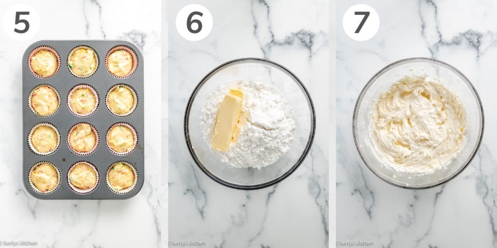 Collage showing how to make key lime buttercream.