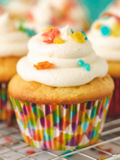 Close up of a fruity pebbles cupcakes.