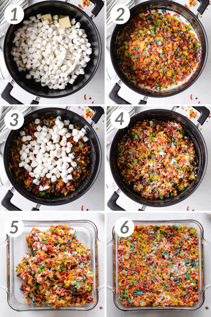 Collage showing how to make fruity pebbles treats.
