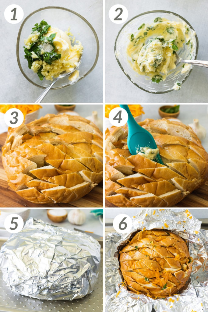 Collage showing how to make garlic pull-apart bread.