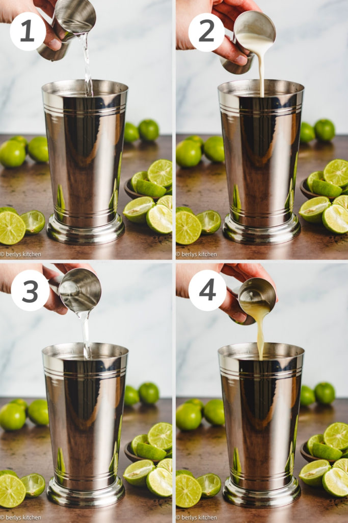 Collage showing how to make a key lime martini.