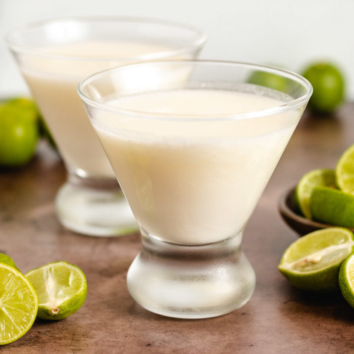 Two key lime drinks with cream.