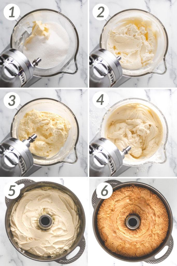Collage showing how to make lemon pound cake.
