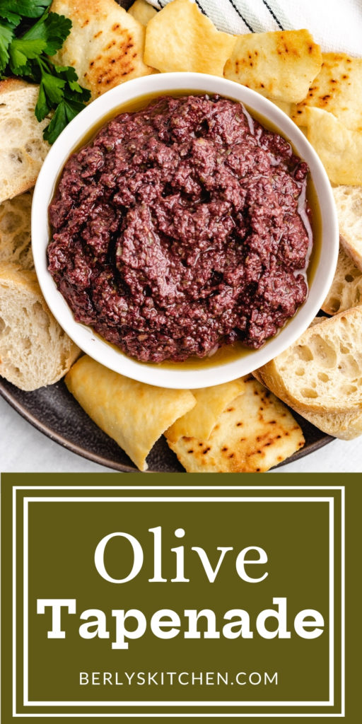 Top down view of olive tapenade in a bowl.