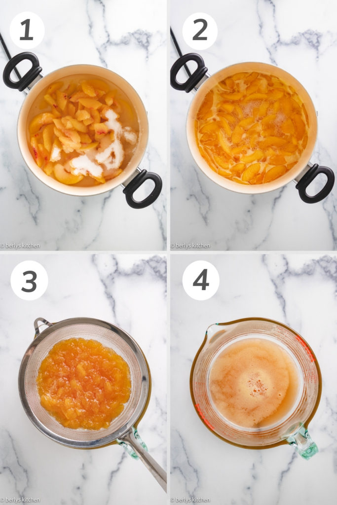 Collage showing how to make peach syrup.
