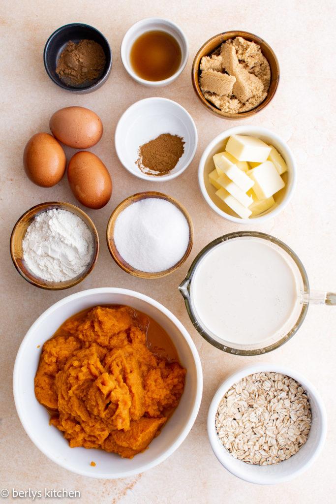Top down view of ingredients for pumpkin crisp.