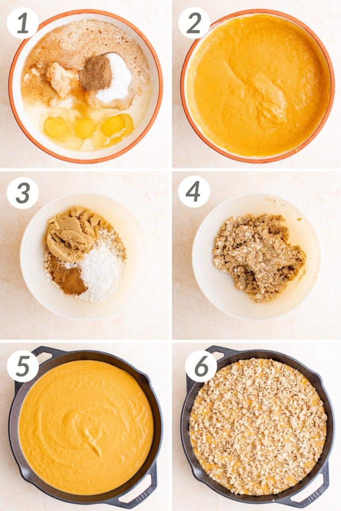 Collage showing how to make pumpkin crisp.