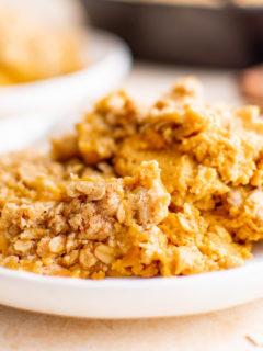 Crisp on a white serving plate.