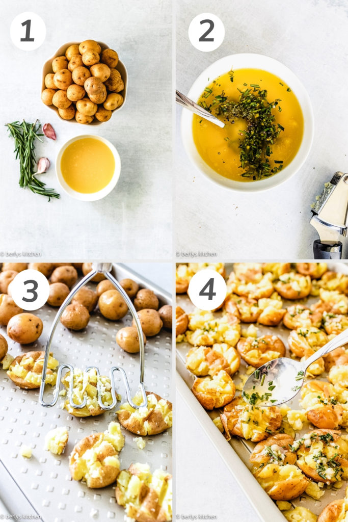 Collage showing how to make smashed potatoes.