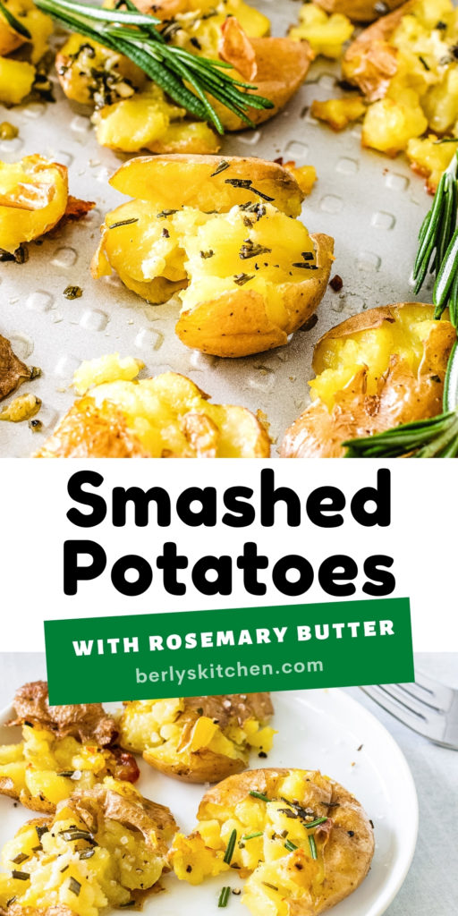 Collage with two photos of smashed potatoes with rosemary butter.