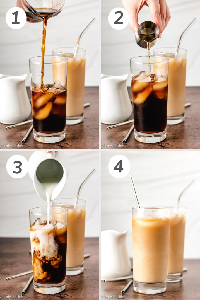 Collage showing how to make caramel iced coffee.
