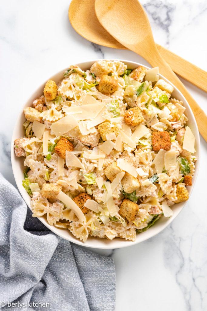 Top down view of chicken caesar pasta salad.