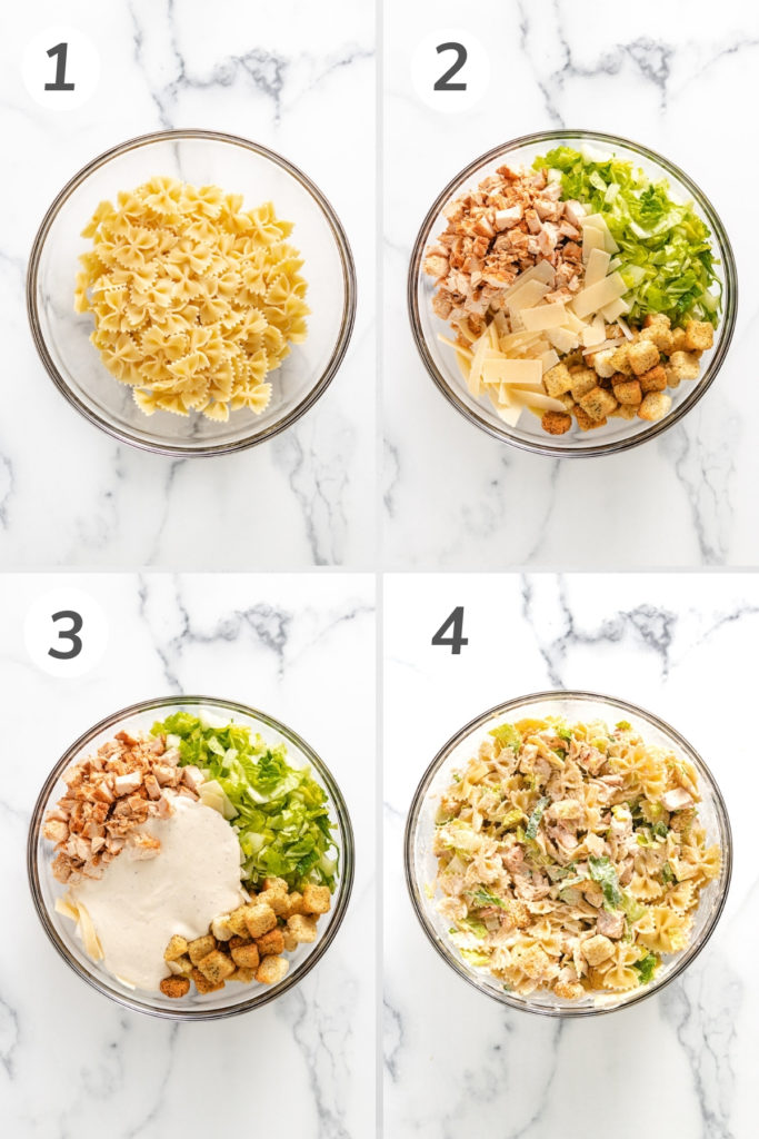 Collage showing how to make chicken caesar pasta salad.