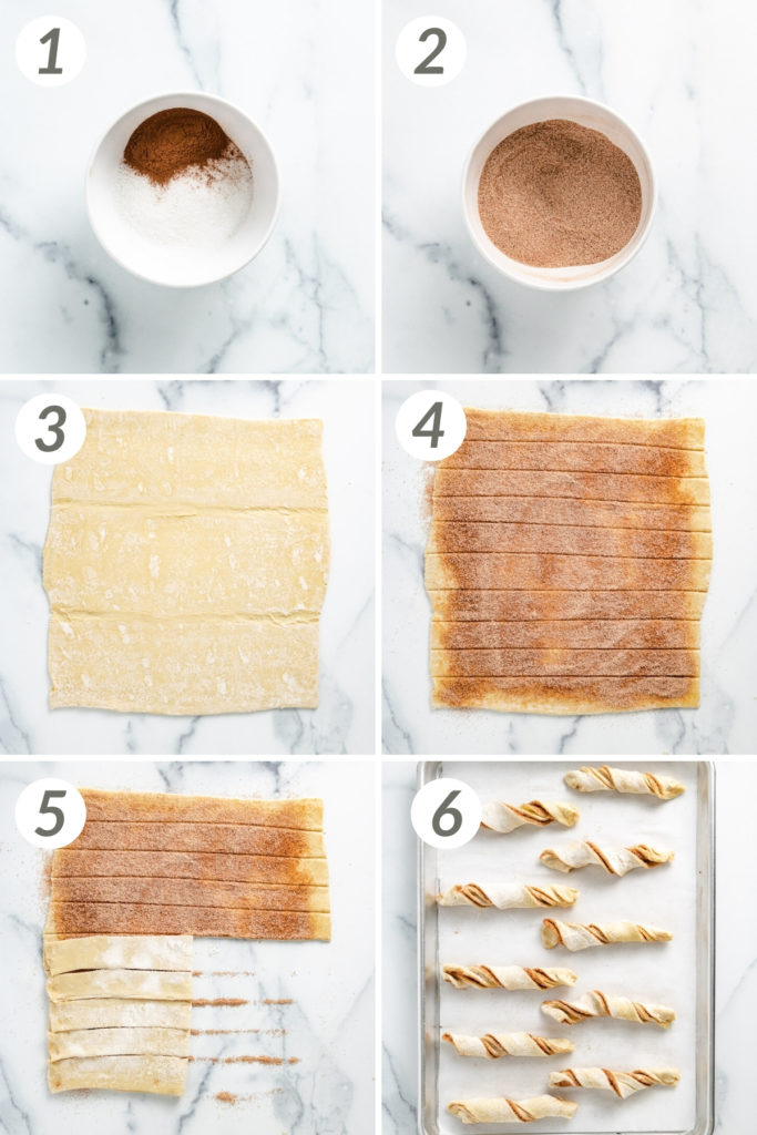 Collage showing how to make cinnamon twists.